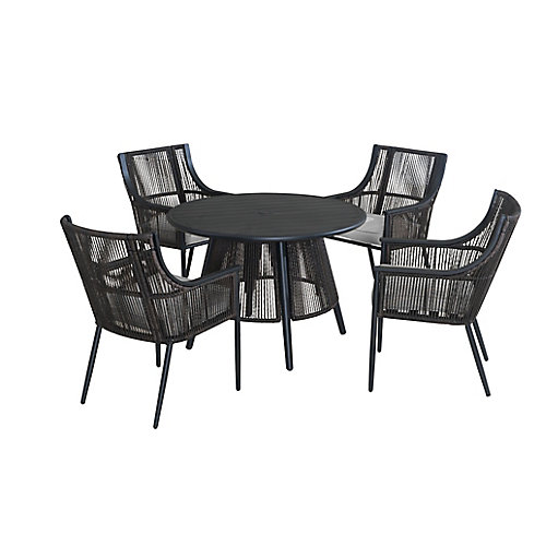 Bayhurst 5-Piece Wicker Patio Dining Set in Black with Cushions