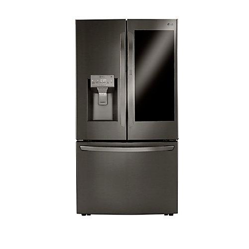 Réfrigérateur à porte française 3 portes InstaView de 36 po W 30 pi3 avec glacière artisanale en acier inoxydable noir.