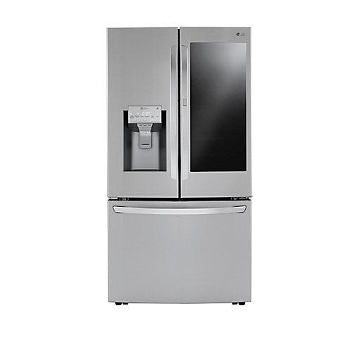 Réfrigérateur à porte française 3 portes InstaView de 36 po. 30 pi. cu. avec glaçons en acier inoxydable.