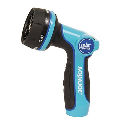 Aqua Joe Heavy Duty Indestructible Metal Multi Function Adjustable Hose Nozzle with Smart Throttle