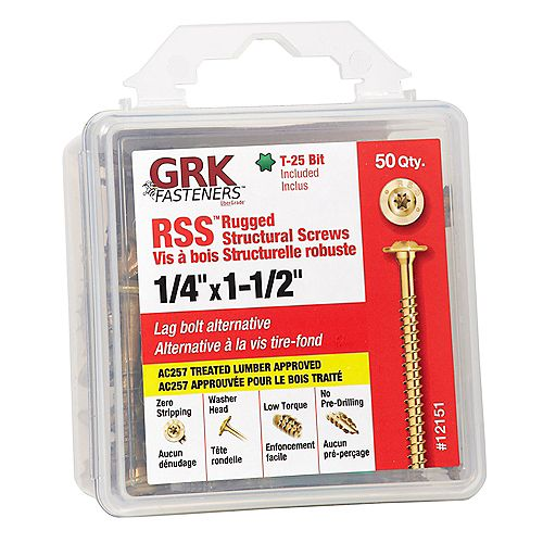 1/4 x 1-1/2-inch GRK RSS Rugged Strutural Screws HANDY-PAK - 50pcs