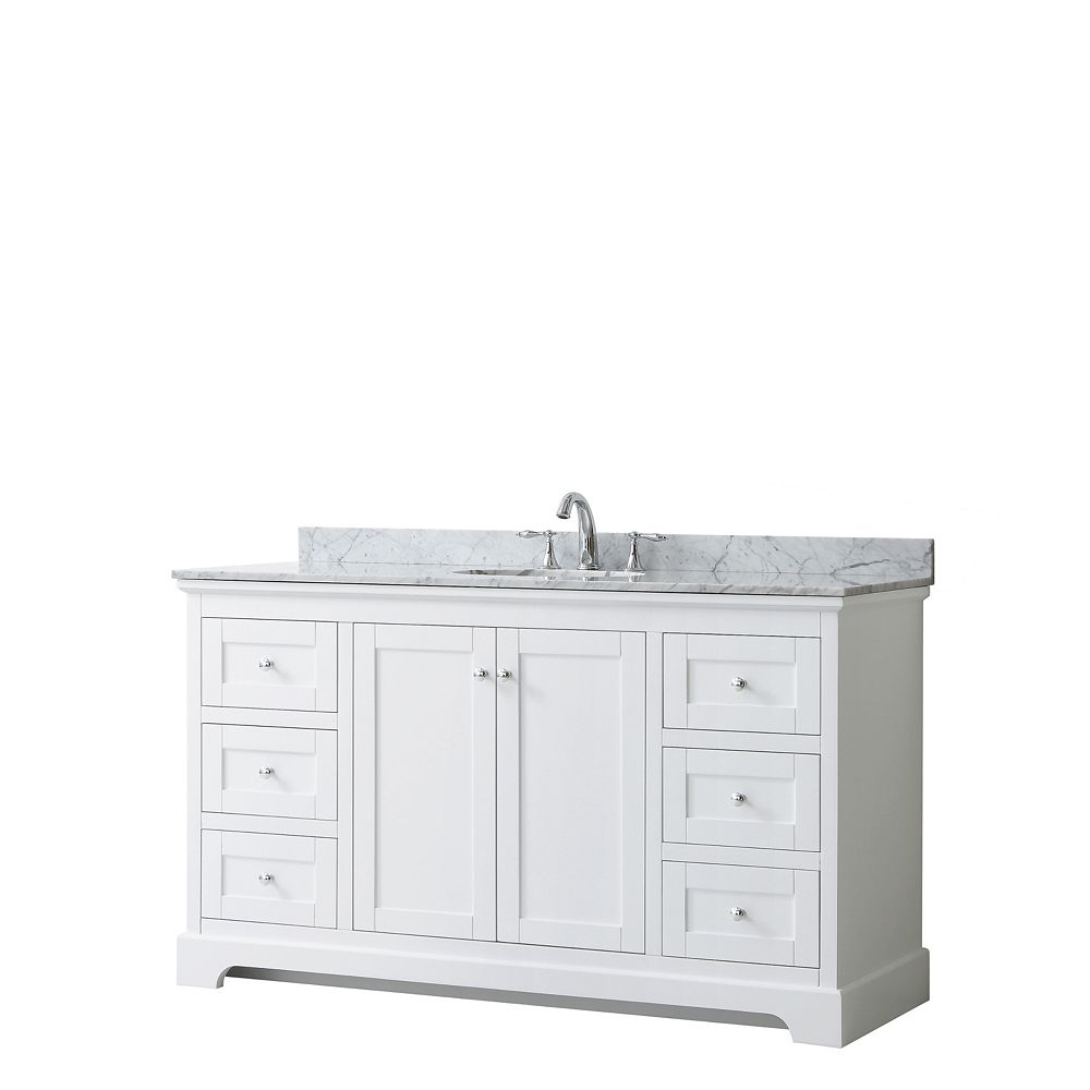 Wyndham Collection Avery 60 Inch Single Vanity in White, White Carrara Marble Top, Oval Sink, No Mirror
