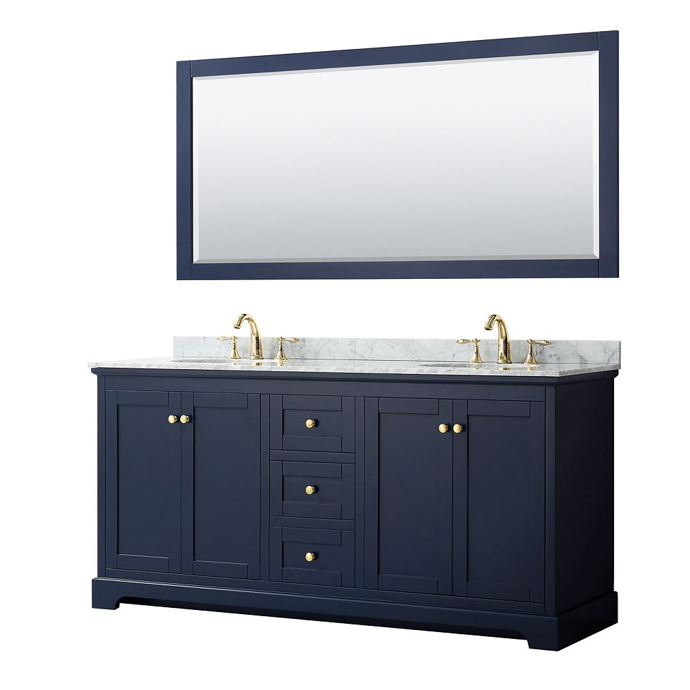 Wyndham Collection Avery 72 Inch Double Vanity in Dark Blue, White Carrara Marble Top, Oval Sinks, 70 Inch Mirror