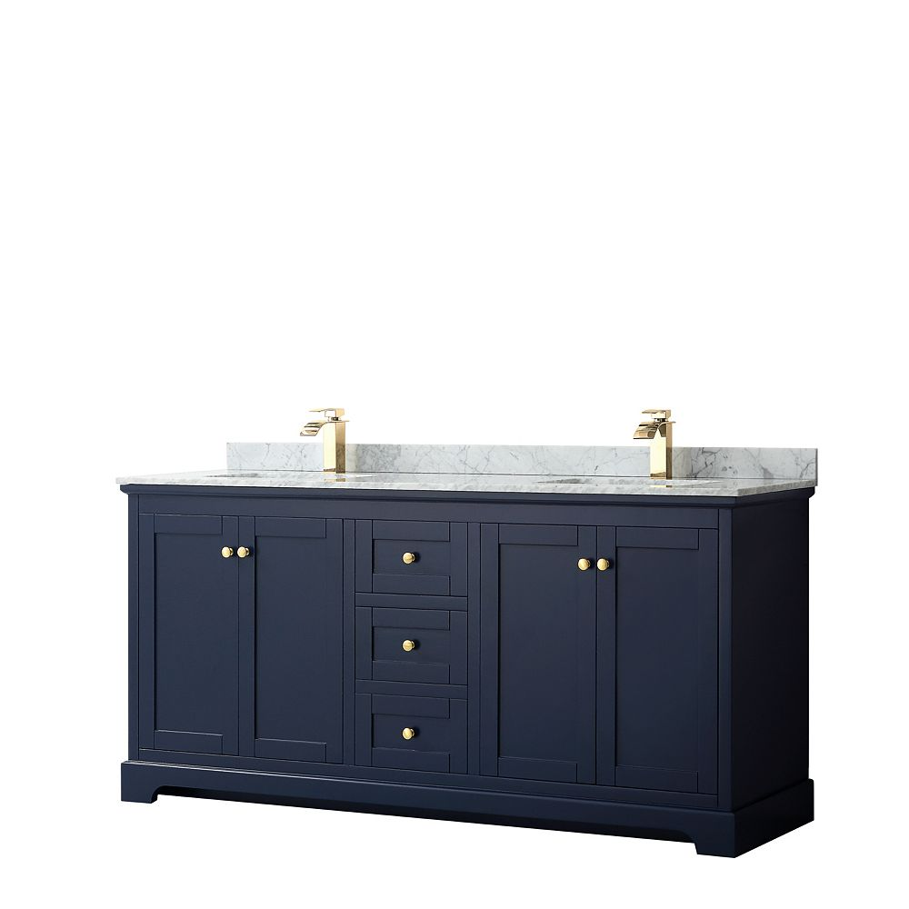 Wyndham Collection Avery 72 Inch Double Vanity in Dark Blue, White Carrara Marble Top, Square Sinks, No Mirror