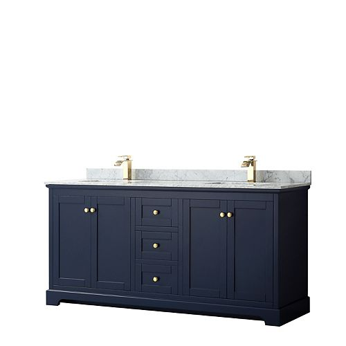 Avery 72 Inch Double Vanity in Dark Blue, White Carrara Marble Top, Square Sinks, No Mirror