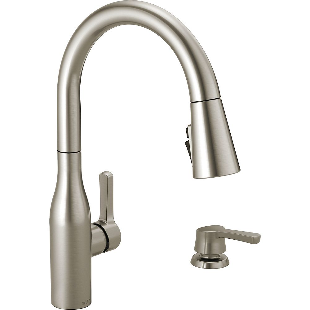 Delta Marca Single Handle Pull Down Kitchen Faucet With Shieldspray Technology In Spotshie The Home Depot Canada