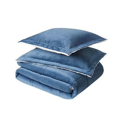 Couette pour grand lit Urban Essentials à vison et moquette berbère, bleu, ens. de 3