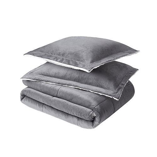 Couette pour grand lit Urban Essentials à vison et moquette berbère, gris, ens. de 3