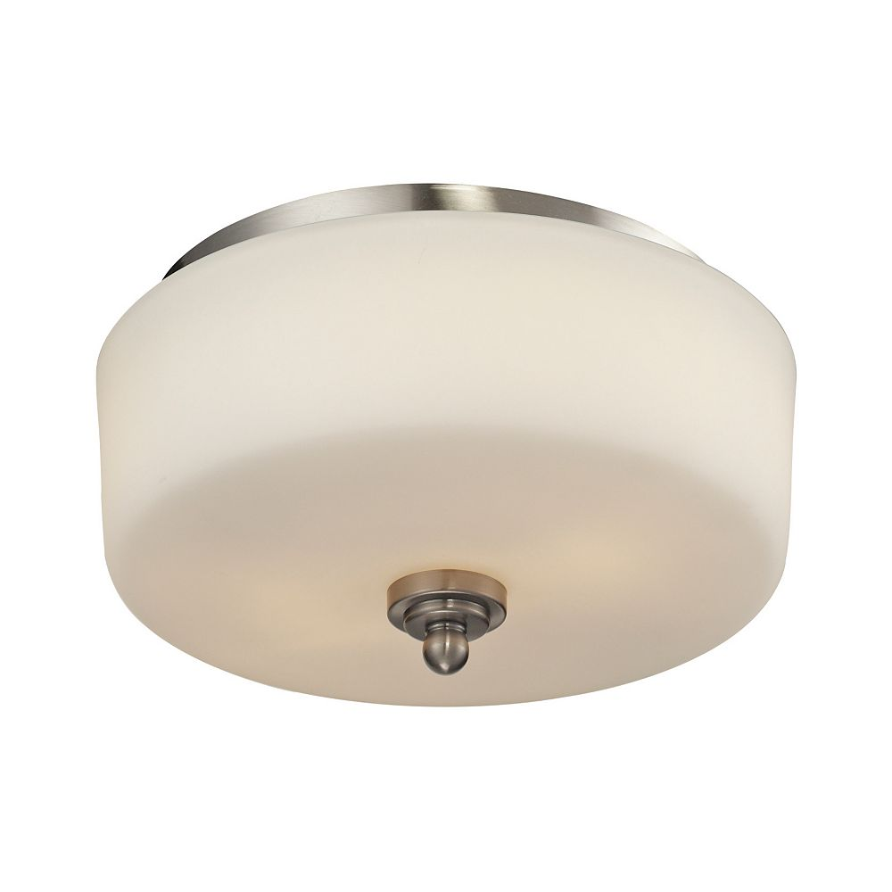 Filament Design 2-Light Brushed Nickel Flush Mount with Matte Opal Glass Shade(s) - 11.75 inch