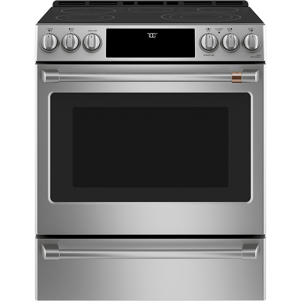 Café 30-inch W Slide-in Single Oven Convection Range with Warming Drawer in Stainless Steel