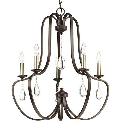 Progress Lighting Lustre Anjoux à cinq lumières, bronze