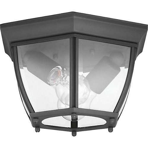 New Haven Collection Two-LightOutdoor Flush Mount, Black Finish