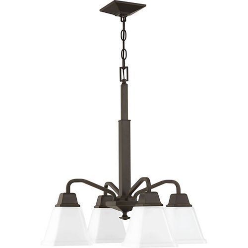 Progress Lighting Clifton Heights Collection Four-Light Chandelier, Antique Bronze Finish