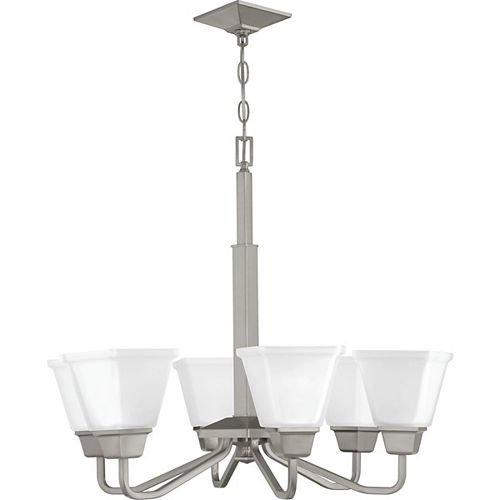 Progress Lighting Clifton Heights Collection Six-Light Chandelier, Brushed Nickel Finish