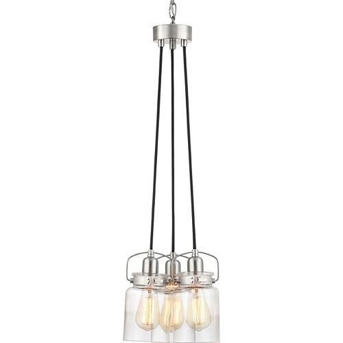 Progress Lighting Calhoun Collection Three-Light Chandelier, Brushed Nickel Finish