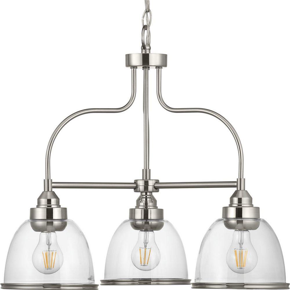 Progress Lighting Saluda Collection Three-Light Chandelier, Brushed Nickel Finish