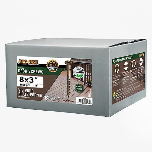 Paulin #8 x 3-inch Pro Deck Screws Brown - 1000 pcs/box