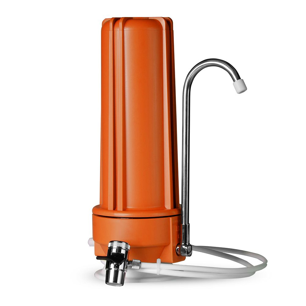 iSpring Distributeur de filtre pour eau potable à filtration multiple sur comptoir  CT10 - Orange
