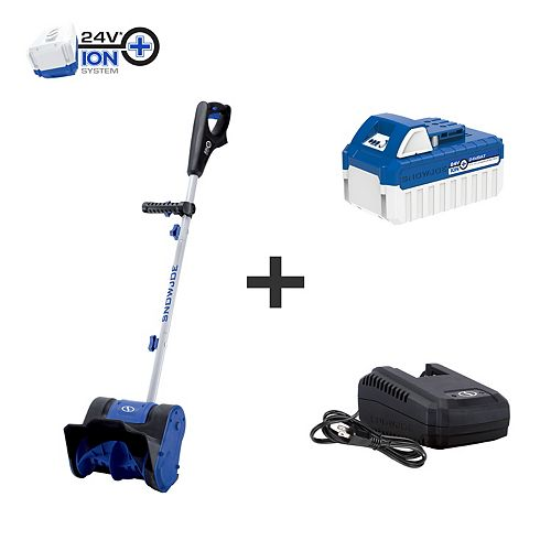 Snow Joe 10-inch 24V Cordless Snow Shovel Kit with 4.0 Ah Battery + Charger