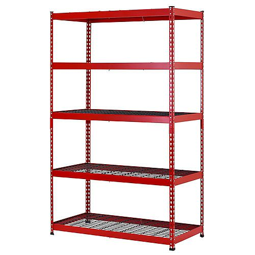 48-inch W x 78-inch H x 24-inch D 5-Shelf Steel Garage Shelving Unit in Red/Black