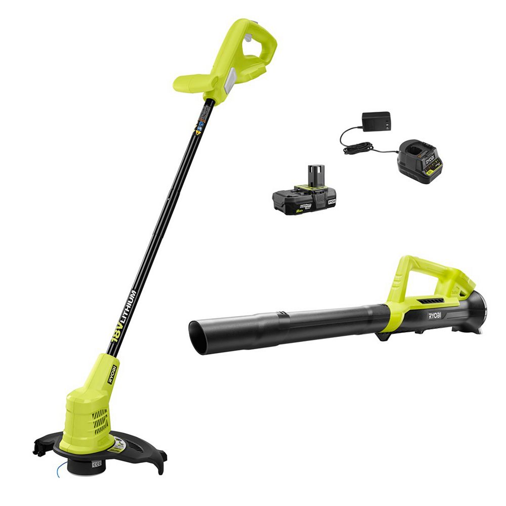 RYOBI 18V ONE+ Lithium-Ion Cordless 10-inch String Trimmer and Blower Kit with 2.0Ah Battery and Charger