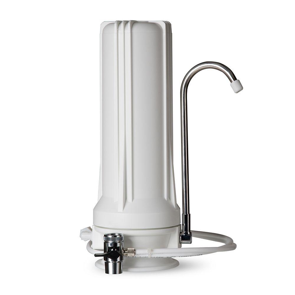 iSpring Distributeur de filtre pour eau potable à filtration multiple sur comptoir  CT10 - Blanc