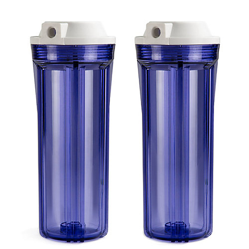 HC12   1/4c Slimline Water Filter Housing Clear 10 inches, 2-Pack