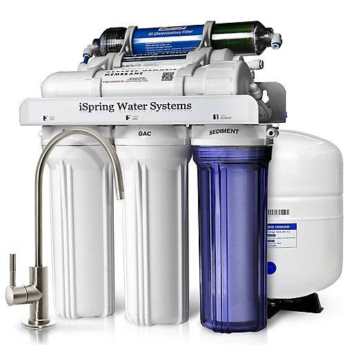 RCC7D 75 GPD Reverse Osmosis Water Filter System w/ Zero TDS Deionizer Filter