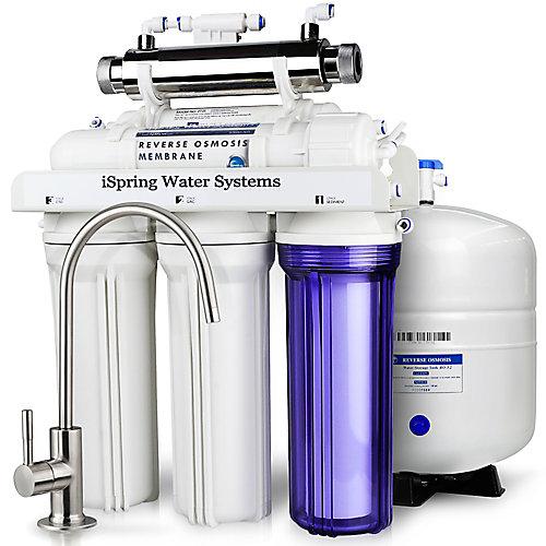 Système de filtration d'eau potable par osmose en 6 étapes RCC7U sous évier avec stérilisateur UV