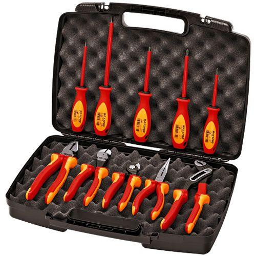 Jeu d'outils consistant en 10 pinces/tournevis -1000V, étui rigide