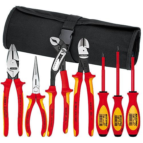 Jeu d'outils (7 pinces et tournevis) avec pochette en nylon qui s'enroule