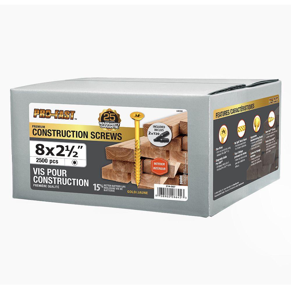 Paulin #8 x 2-1/2-inch Pro Construction Screws - 2500 pcs/box