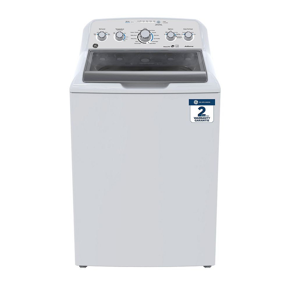 GE Adora 27-inch 4.9 (IEC) Cu. Ft. Top Load Washer with Stainless Steel Drum in White