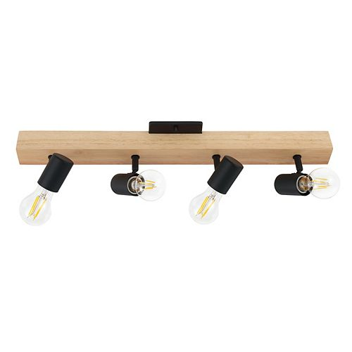 Kingswood Track Light 4L,  Wood & Black Finish