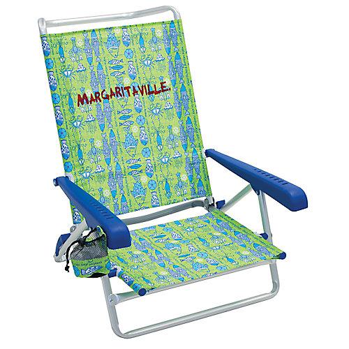 5-Position Beach Chair - Green Fish