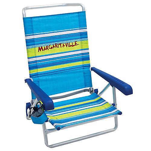 5-Position Beach Chair - Blue Stripe