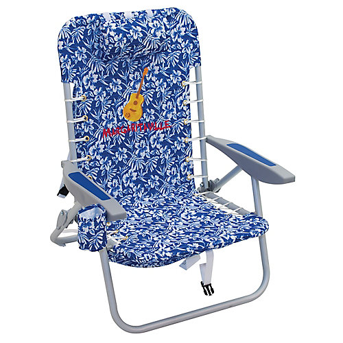 4-Position Backpack Beach Chair - Blue Floral