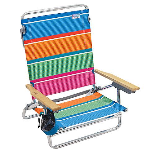 RIO Beach Classic 5-Position Lay-Flat Beach Chair - Stripe