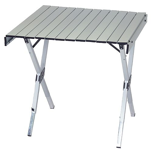 RIO Brands Gear Aluminum Expandable Roll Top Table 28 x 27 inch to 48 x 27 inch