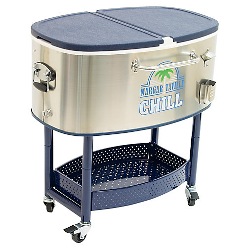 Rolling Oval Stainless Steel Cooler - 77 Quart - Chill