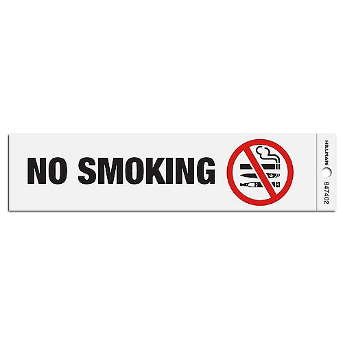 Hillman 2-inch x 8-inch No Smoking Cigarette, Marijuana, E-Cigarette Sign in English