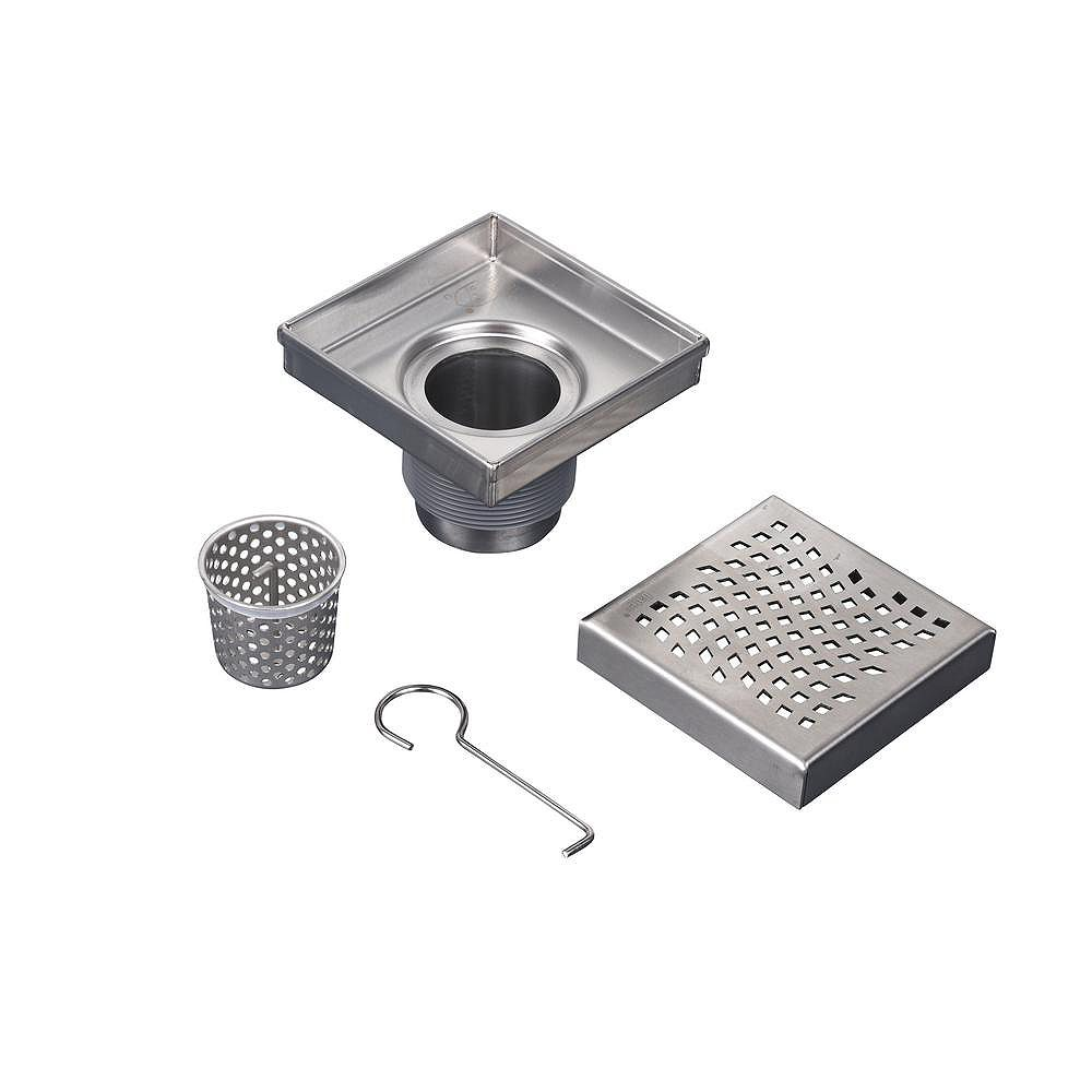 Oatey Designline 4 in. x 4 in. Stainless Steel Square Shower Drain with Wave Pattern Drain Cover