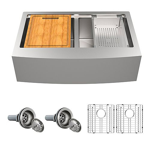 31.5 inch Farmhouse Apron Double Bowl 18-Gauge Stainless Steel Kitchen Sink