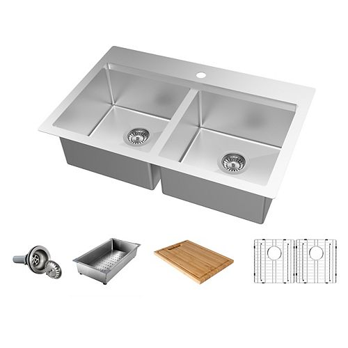 31.5 inch Dualmount Double Bowl 18-Gauge Stainless Steel Kitchen Sink