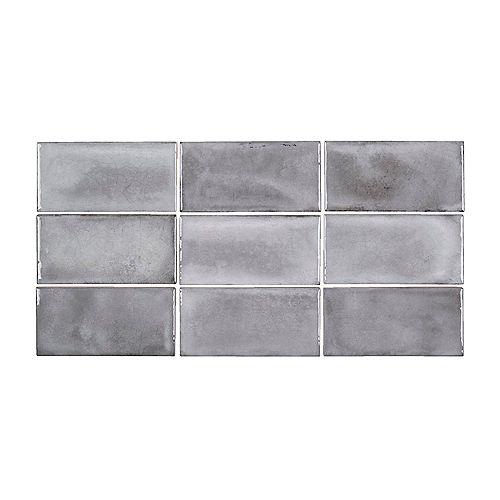 Carreau de mur en céramique brillante Gris Rustico, 3pox6po (5,38 pi2/caisse)