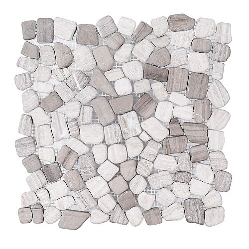 Bailey Grey Pebble 12-inch x 12-inch x 10 mm Honed Marble Stone Mosaic Floor and Wall Tile