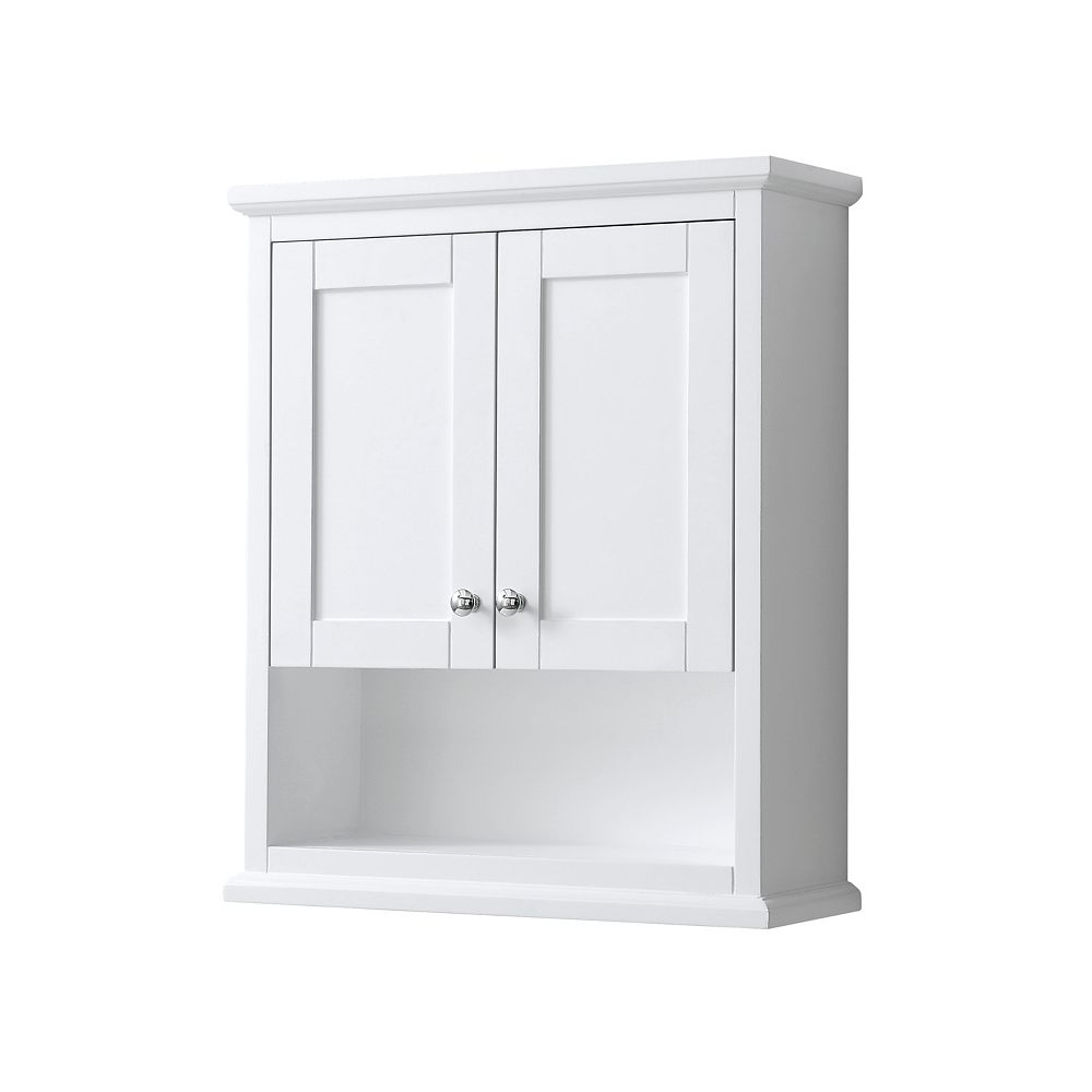 Wyndham Collection Avery Wall Mounted Bathroom Storage Cabinet In White The Home Depot Canada
