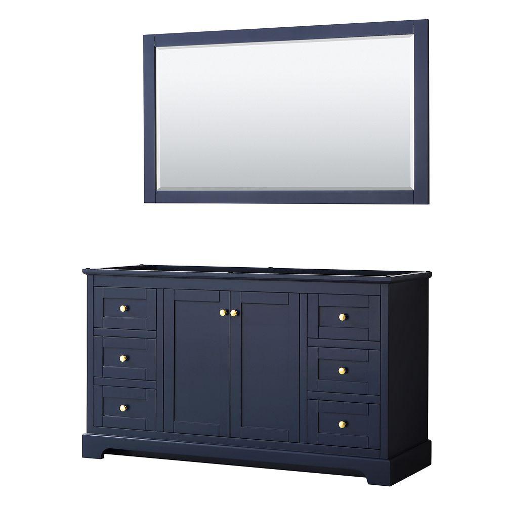 Wyndham Collection Avery 60 Inch Single Bathroom Vanity in Dark Blue, No Countertop, No Sink, and 58 Inch Mirror