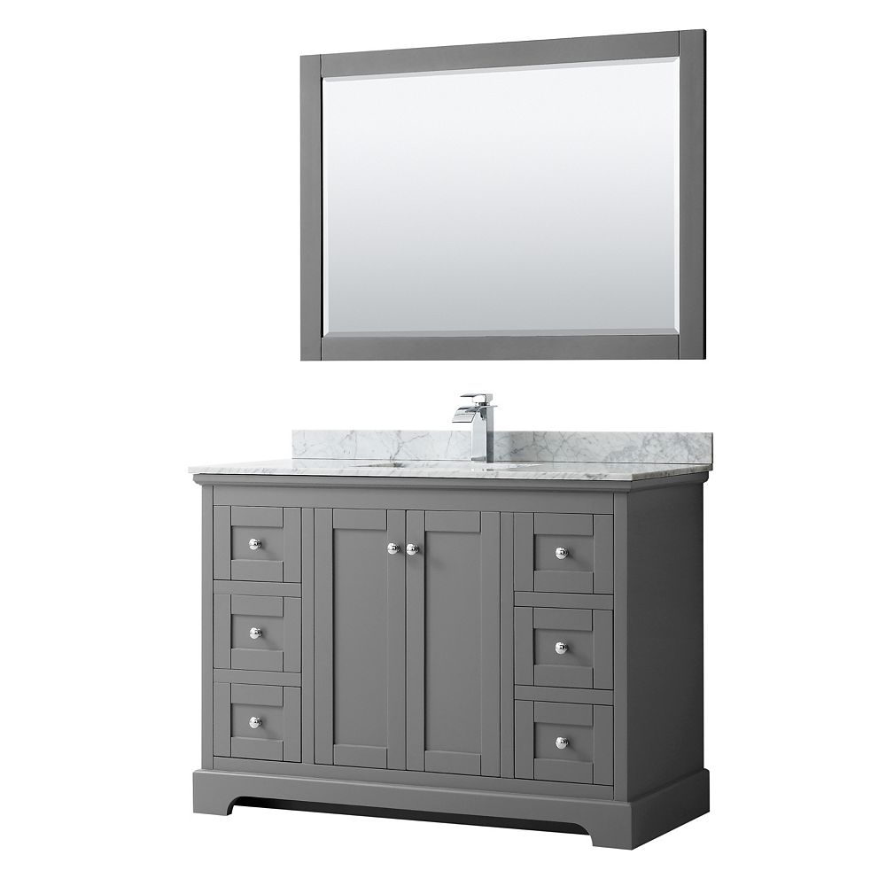 Wyndham Collection Avery 48 Inch Single Vanity in Dark Gray, White Carrara Marble Top, Square Sink, 46 Inch Mirror