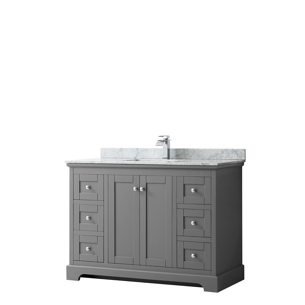 Wyndham Collection Avery 48 Inch Single Vanity in Dark Gray, White Carrara Marble Top, Square Sink, No Mirror